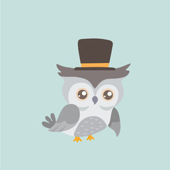 Cute cartoon owl in a hat.