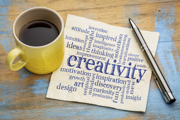 creativity word cloud on napkin