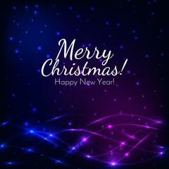 Merry Christmas and New Year greeting card on a colorful bokeh background. Vector illustration. Design by flyer, banner, poster, printing, mailing.