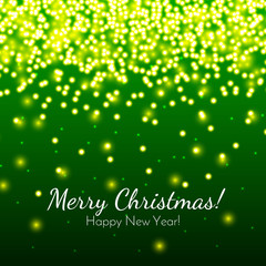 Merry Christmas and New Year greeting card on a green background with bokeh. Christmas lights. Vector illustration. Design by flyer, banner, poster, printing, mailing.