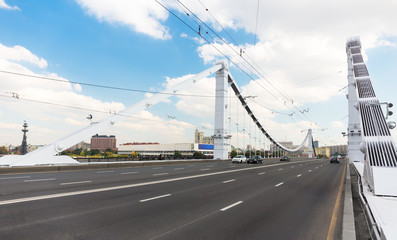 The road on Krymsky Bridge in Moscow