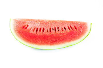 Slice  watermelon red on white background