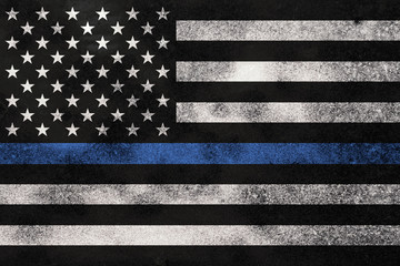 Grunge Textured Police Support Flag Background