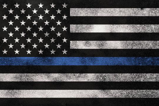 Grunge Textured Police Support Flag Background