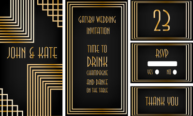 "Art deco wedding invitation set in ""Great Gatsby"" theme"