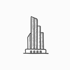 Skyscraper office building sketch icon.