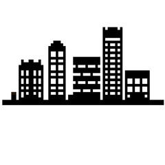 Pixel set 8 bit cartoon illustration of black line art different city buildings with windows isolated on white background vector eps 10