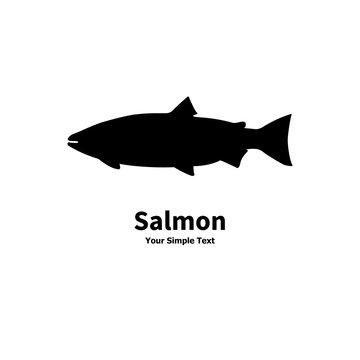Vector illustration of black silhouette salmon