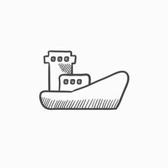 Cargo container ship sketch icon.
