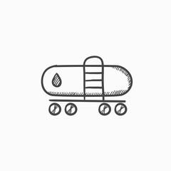 Oil tank sketch icon.