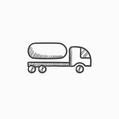 Fuel truck sketch icon.