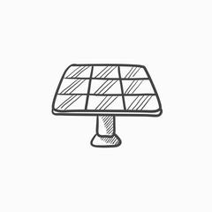 Solar panel sketch icon.