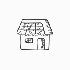 House with solar panel sketch icon.