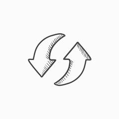 Two circular arrows sketch icon.