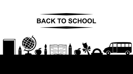 Back to school greeting banner with text