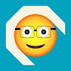 Emoticon smart face. Geek emoji. Isolated vector illustration on background. Emoji longshadow icon.