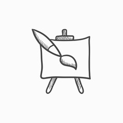 Easel and paint brush sketch icon.