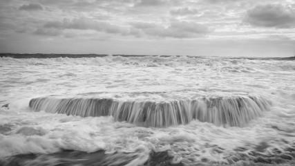 Shoreline, Kauai Island, Hawaii, United States of America, Black and White