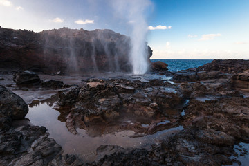 Lava blowhole, Nakalele Point, Maui, Hawaii, United States of America, panoramic