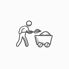 Mining worker with trolley sketch icon.