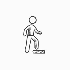 Man doing step exercise sketch icon.