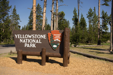 Welcome Sign Yellowstone National Park NPS Wyoming