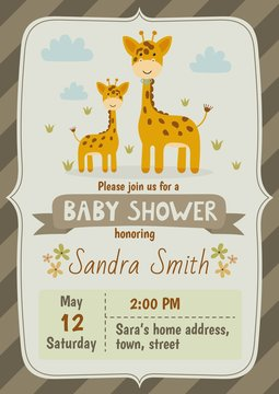 Baby shower invitation card with cute giraffes