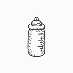 Feeding bottle sketch icon.