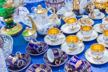 Vintage tea set at a flea market