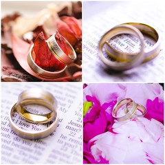 Photo collage of wedding rings images