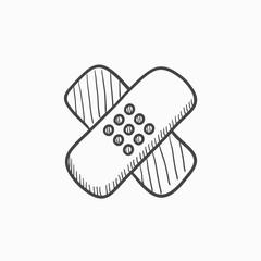 Adhesive bandages sketch icon.