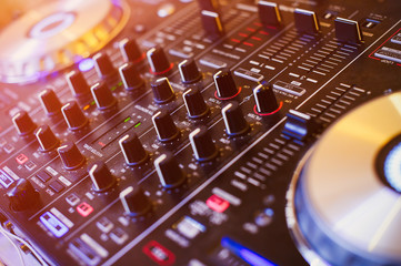 dj controller on nightclub parties DJ. sound equipment