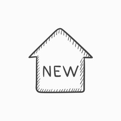 New house sketch icon.