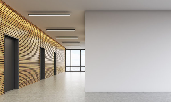 Office lobby with white wall
