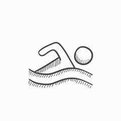 Swimmer sketch icon.
