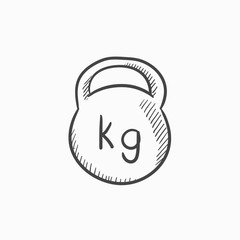 Kettlebell sketch icon.