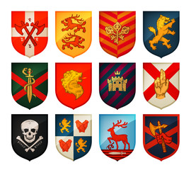 Collection of medieval shields and coat  arms. Kingdom, empire, castle vector symbols