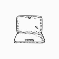 Laptop with cursor sketch icon.