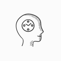Human head with clock sketch icon.