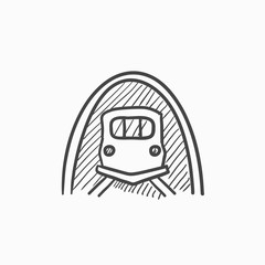 Railway tunnel sketch icon.