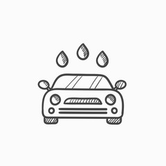 Car wash sketch icon.