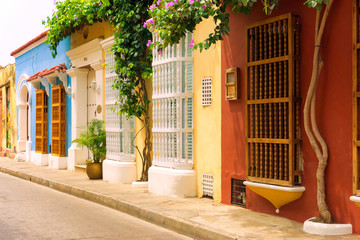 Fototapete - Rows of Colonial Houses in Cartagena