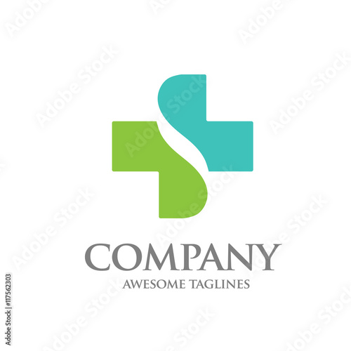 healthcare cross abstract vector logo design template letter s with