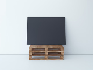 Black canvas on the wooden palletes. 3d rendering