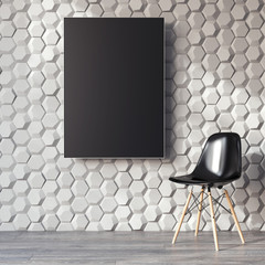 Modern interior with black canvas on the wall. 3d rendering