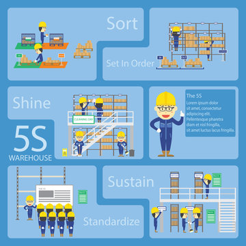 Warehouse Teamwork Cartoon With The 5S Activities for Web Page and Book Design