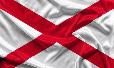 Alabama Flag - Crumpled fabric background, wallpapers