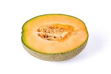 cantaloupe melon slices isolated on white background