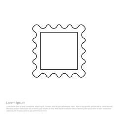 Outline postage Stamp icon, vector illustration. Flat design style