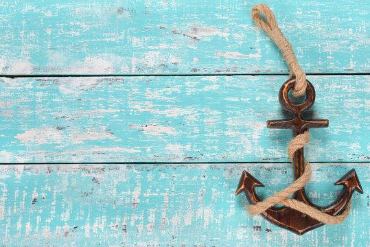 Wooden decorative anchor